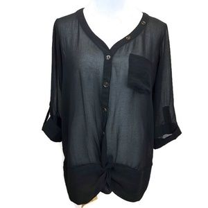 The Limited Sheer Black Knotted Blouse Top Small